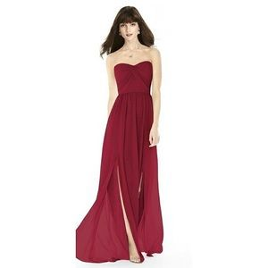 • Dessy Collection red strapless bridesmaids dress